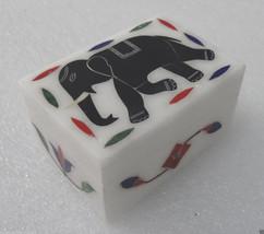 "3""x2""x1.5"" White Marble Jewelry Box Handmade Pietra Dura Black Elephant Decor - $42.14"