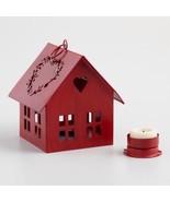 Antiqued Red Metal House LED Tealight Candleholder - $13.92