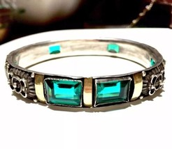 FRENCH Art Deco Nouveau Emerald Paste silver 14k gold Bangle BRACELET - $1,168.50