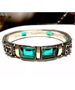 FRENCH Art Deco Nouveau Emerald Paste silver 14k gold Bangle BRACELET - $1,168.50