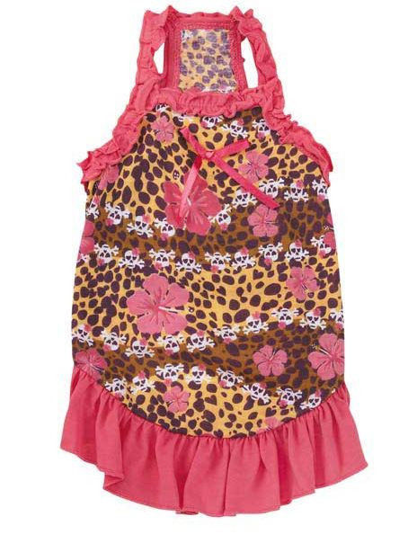 Skull-Fari Ruffle Dog Dress Zack & Zoey  pet dresses Pink Skull Leopard hibiscus