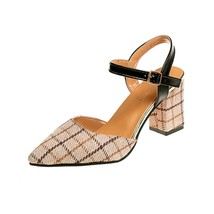 Button sandals with thick high heel and Baotou pointed head - $44.20