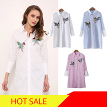 New arrival 2018 Women Bird Embroidered Blouse Shirts fashion Long sleeve high q image 3