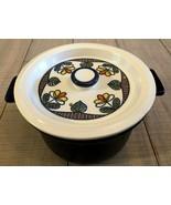 Flame-Chef Japan Stoneware 1 Qt. Casserole w/Trivet Lid Cobalt Blue Tuli... - $17.50
