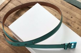 Ralph Lauren Skinny Leather Belt Green Blue Cowhide Spring Size L Easter Wear - $36.03