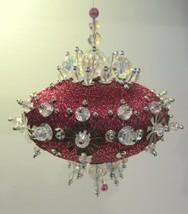 Vintage Handmade Push Pin Christmas Ornament Burgundy Crystals Silver Fi... - $19.95