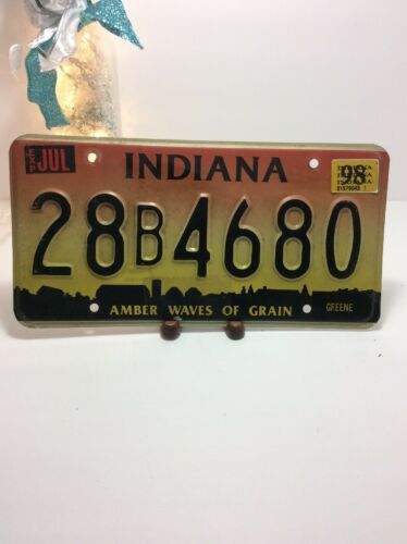 Vintage Indiana License Plate -  - Single Plate 1998