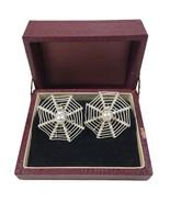 Vintage 1940's Sterling Pearl Filigree Spider Web Screw Back Earrings Halloween - $327.21