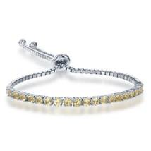 Women's Sterling Silver Citrine Adjustable Bolo Tennis Bracelet - £96.76 GBP