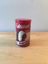 Vintage 70s Calumet Baking Powder tin packaging with recipe book offer