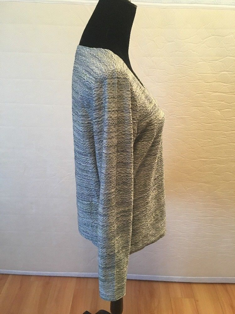 J. Jill Blue Green Gray Crinkle Striped Long Sleeve Top Size Medium