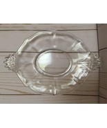 """Vintage Oval Faceted Clear Depression Glass Plate Tray with Handles 10"""" - $29.99"""