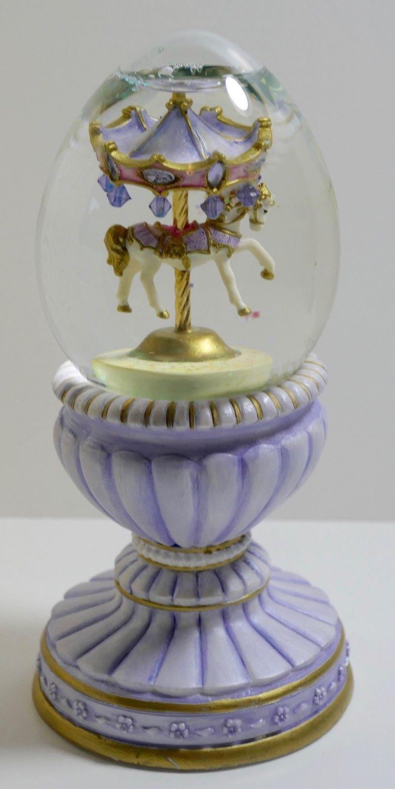 San Francisco Music Box Company Joan Pilallis Amethyst Carousel Glitter Globe