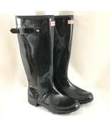 Hunter Womens Rain Boots Original Gloss Adjustable Rubber Black Size 10 - $96.74