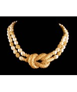 Vintage Couture Pearl necklace - Mary McFadden Love knot wedding choker ... - $225.00
