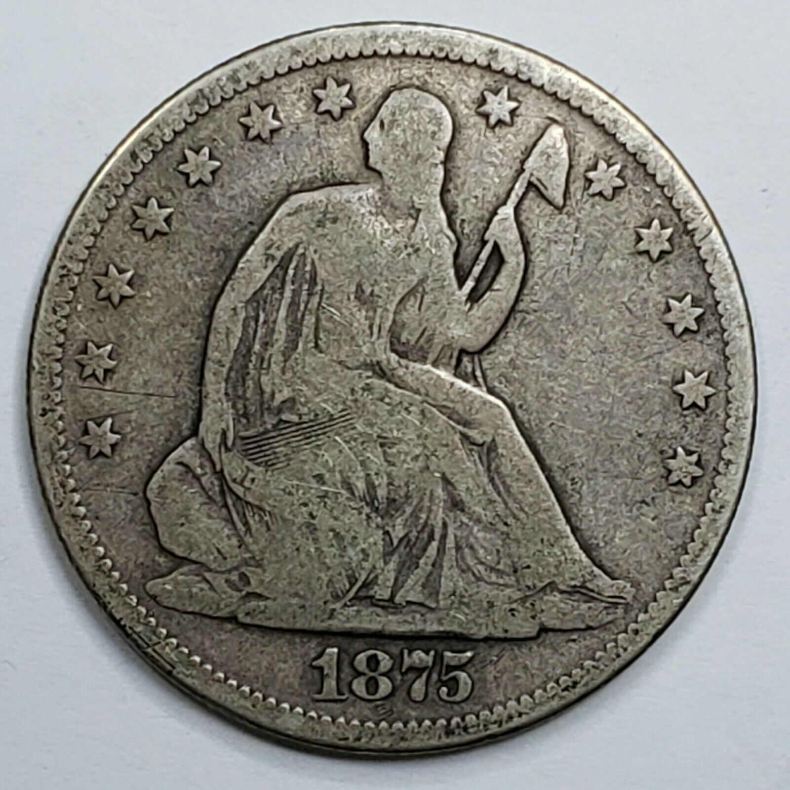 1875S Seated Liberty US Silver Half Dollar Coin Lot 519-127