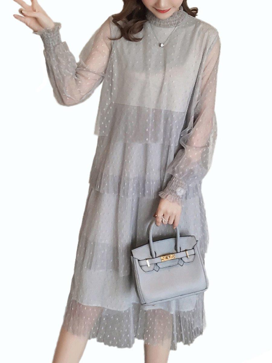 Maternity Dress Long Sleeve Fashionable Layered Dress