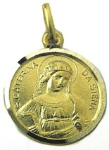 SOLID 18K YELLOW GOLD ROUND MEDAL, SAINT CATHERINE OF SIENA, CATERINA, DIAM 17mm image 1