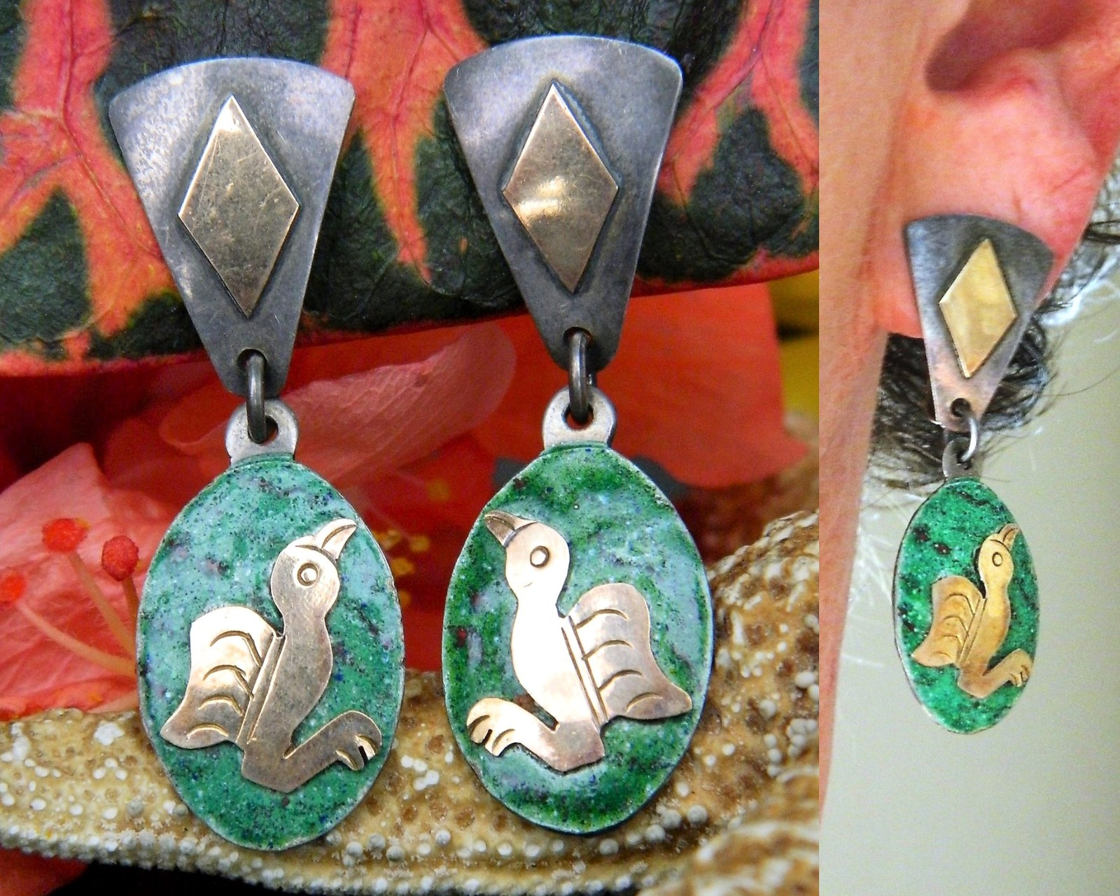 Vintage Mexico Bird Earrings Mixed Metals Dangles 925 Sterling Silver