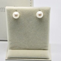SOLID 18K WHITE GOLD EARRINGS WITH PEARL PEARLS 9 MM MADE IN ITALY BEAUTIFUL BOX image 2