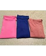 Girl's Lot Of 3 Solid Long Sleeve Turtleneck-2 & Crewneck-1 T-Shirts (7/8) - $11.30