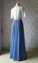 Dusty Blue Bridesmaid Dresses 2 Piece Long Tulle Skirt and Sleeve Crop Lace Top  image 3