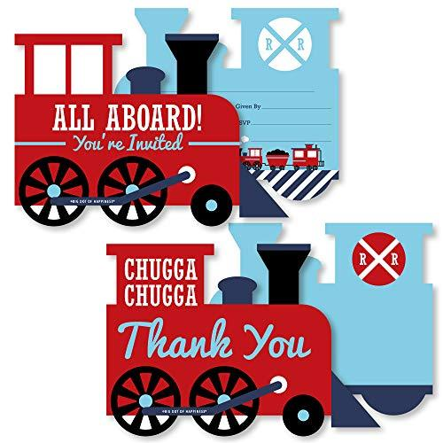 Railroad Party Crossing - 20 Shaped Fill-In Invitations and 20 Shaped Thank You