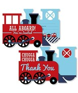 Railroad Party Crossing - 20 Shaped Fill-In Invitations and 20 Shaped Th... - $37.77