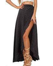 GIKING Women Vintage Skirts, Polka Dots High Waist Wrap Split Skirts Bla... - $19.82