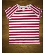 ! target circo red white striped crew neck tee shirt top large  8 - 10 - $3.01