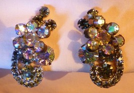 Gorgeous Vintage 1950's Aurora Borealis & Rhinestone HUGE Earrings Clip On - $45.00