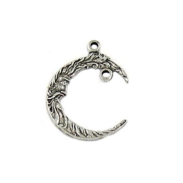 CRESCENT MOON w/ Drop Loop FINE PEWTER PENDANT CHARM - 27mm x 21mm x 2mm