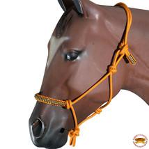 Orange Horse Halter Braided Poly Rope Crystal Accent Western Tack Hilason U-A410 - $19.79