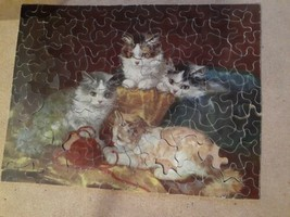 Vintage Jigsaw Masterpiece Picture Puzzle Series No. 103 Basket of Kittens - $3.00