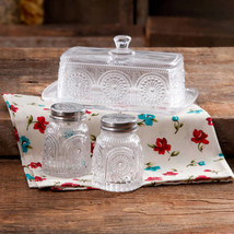 New The Pioneer Woman Adeline Clear Glass Butter Dish Salt Pepper Shaker... - $28.71
