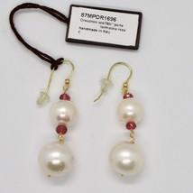 Boucles D'Oreilles en or Jaune 18K 750 Perles D'Eau Douce Tourmalines Rose Italy image 2