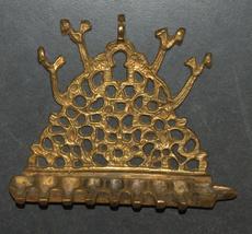 Antique North Africa Judaica Hanukkah Oil Menorah Engraved Bird Decorated Bronze image 1
