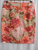 Talbots Straight Skirt Knee Length Pink Floral Spring Back Hidden Zip 2P... - £19.40 GBP