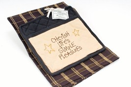 Pocket Potholder Set Black Kitchen Dish Towel & Potholder Cherish Life's... - $9.46