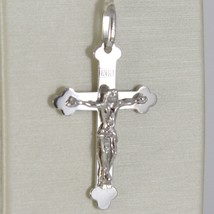 PENDENTIF CROIX OR BLANC 750 18K,TRILOBITE,AVEC LE CHRIST,SOLIDE,MADE IN ITALY image 1