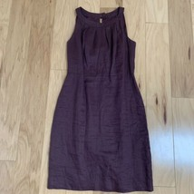 LOFT Women's Dress Size 4 Purple Linen Sleeveless Sheath - $22.76