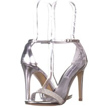 Steve Madden Stecy Ankle Strap Dress Sandals 035, Silver, 5.5 US - $28.79