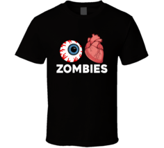 I Love Zombies Scary Funny Halloweeen T Shirt - $19.99