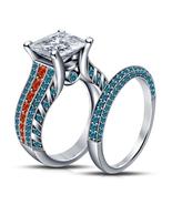 Womens Designer Princess Cut Diamond Bridal Ring Set 14k White Finish 92... - $98.99