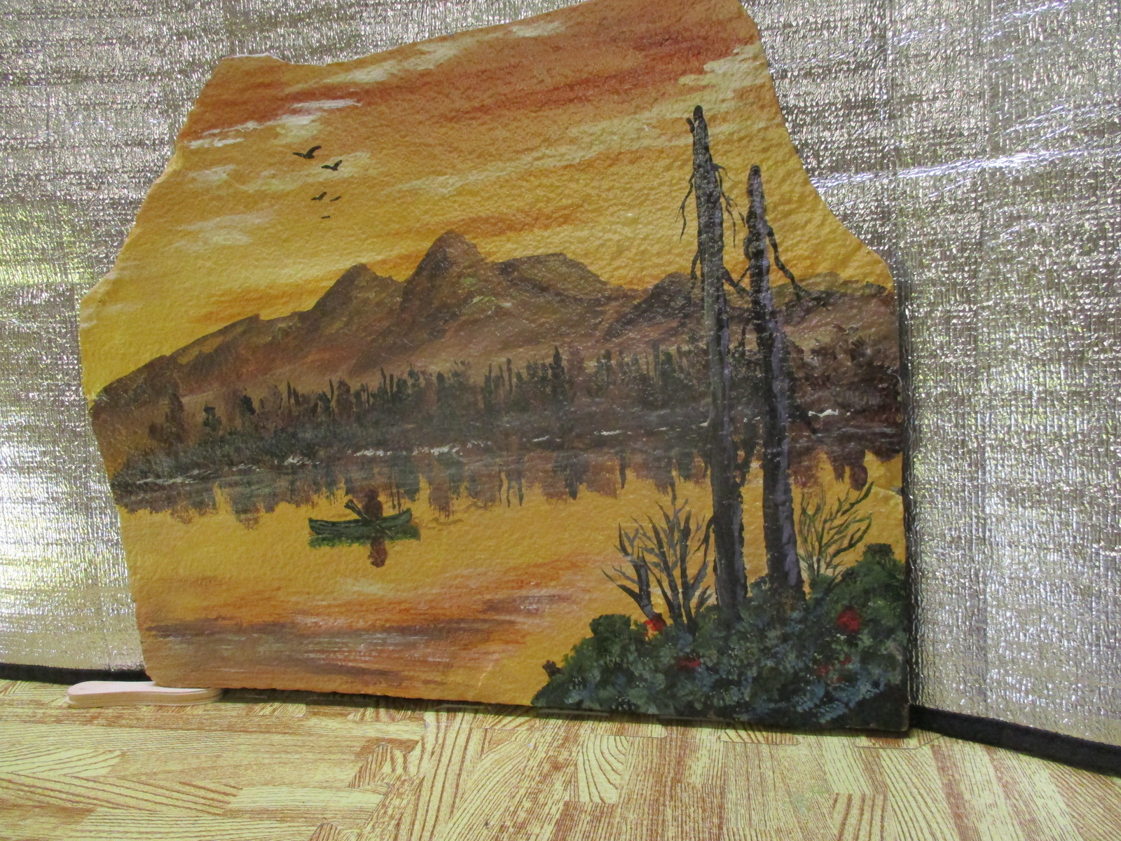 Late Autumn; Man in Canoe on the Lake