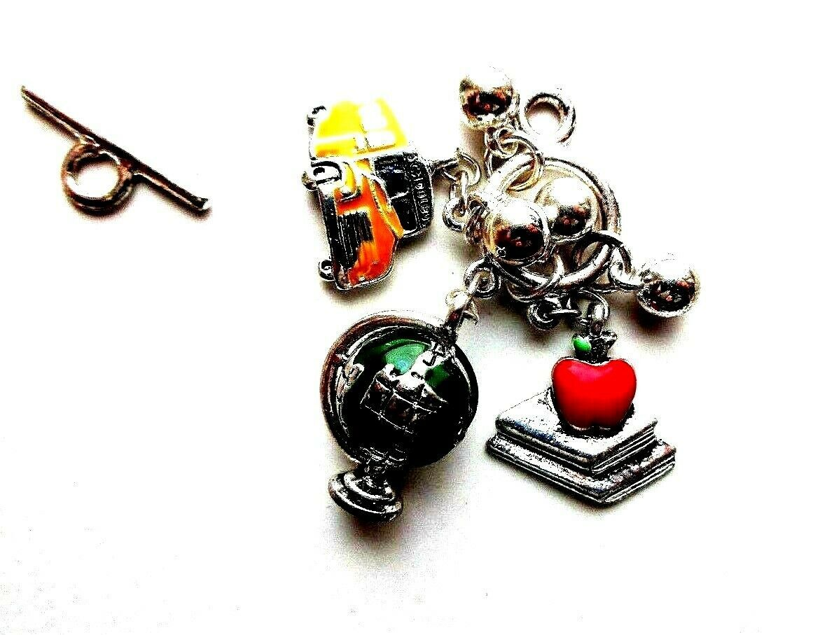 Primary image for F42 FUN TOGGLE CLASP WITH SCHOOL THEAMED CHARMS JEWELRY MAKING FINDINGS CRAFTS