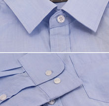 Men's Cotton Long Sleeve Classic Collared Plaid Button Up Dress Shirt - M image 3
