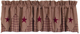Olivia's Heartland country primitive VINTAGE STAR Wine pointed VALANCE curtain - $34.95