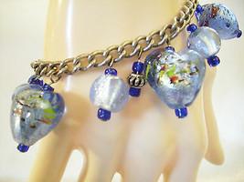 Blues HEARTS ART GLASS CHARM Chain Bracelet Beads Baubles Vintage - $11.83
