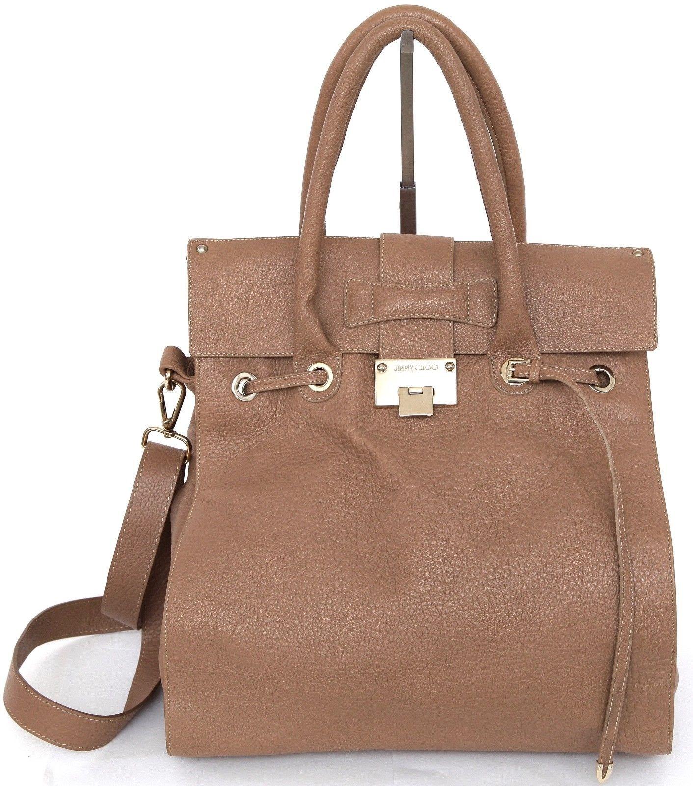 JIMMY CHOO Bag Tan Leather Large ROSABEL Satchel Tote Shoulder Strap Gold HW - $617.50
